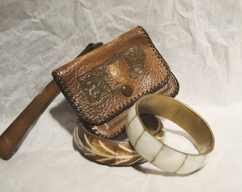 Vintage Hand Tooled Leather Coin Purse Wrist-let