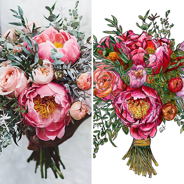 Original custom bridal bouquet painting 12x16 for Bouquet original