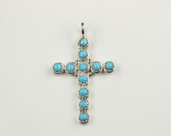 Native American Zuni .925 Sterling Silver Turquoise Cross Pendant