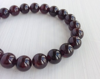 Women's Beaded Bracelet - 8mm Garnet Beaded Stretch Bracelet - January Birthstone, Gemstone Beaded Bracelet