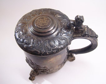 antique solid silver tankard, beer stein with 1696 IIII Marck Danske coin and figural lions
