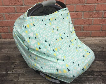 Car Seat Cover. Nursing Cover. Highchair Cover. Shopping Cart Cover. Baby Shower Gift. Mint Triangles