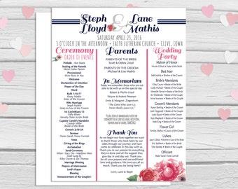 Wedding Programs, Wedding Ceremony Program, Order of Ceremony, Wedding Program with flowers, alternative wedding program, 8.5x11, one-sided