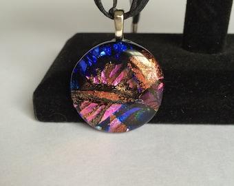 Round Pink/ Purple Dichroic Glass Pendant