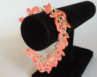 Pink Disk Chainmaille Shaggy Loop Bracelet