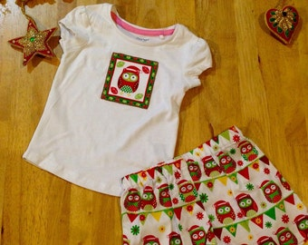 Christmas owl shorts set - girl's size 9-12mths