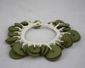 bracelets, green bracelets, button bracelets, button jewelry, sage green bracelets, crocheted bracelets, hand made jewelry, handmade jewelry