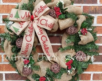 "18"" Greenery & Burlap Merry Christmas Winter Wreath"