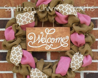 Pink & White Burlap Summer Welcome Wreath