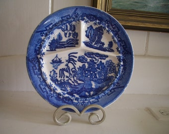 Vintage Moriyama Grill Plate/Divided Plate...Blue Willow Pattern