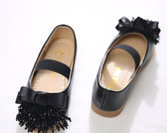 BLACK Flower Girl Shoes/ black bow tassel beads bridesmaid Flower Girl Shoes/cute girls Party Shoes/soft comfortable leather mary jane shoes