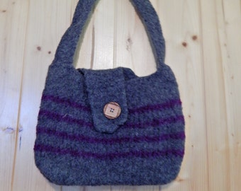 Hand made felted wool purse