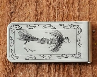 Money Clip, Fly Fishing, hand engraved