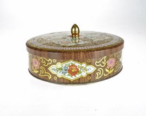 Vintage Round Metal Box - Candy Box - Cookie Box - Brown Floral Pattern Box - Designed by Daher -  Made in England - Rusty Metal Box