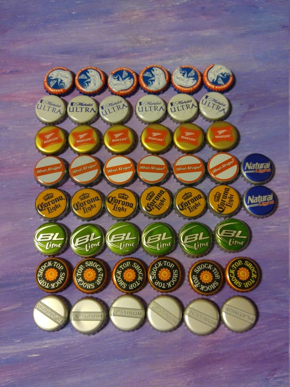 50 mixed types of used metal beer bottle caps up cycle - Beer bottle caps recyclable ...