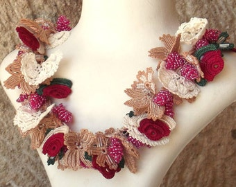 Turkish OYA Lace - Necklace - Bijou - Rose pink