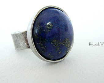 Spoon ring, Lapis Lazuli ring, Hypoallergenic ring, Stainless steel ring, Recycled jewelry, Statement ring, Blue ring, Spoon jewelry