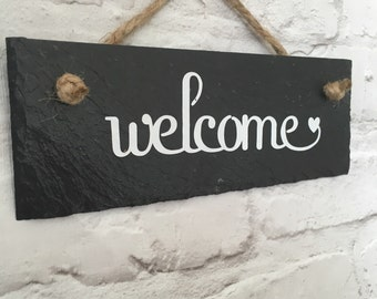 Welcome slate sign. House sign. Welcome plaque. Front door sign. Outdoor sign & Welcome door sign | Etsy Pezcame.Com