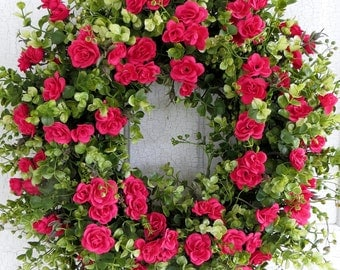 Spring Wreath, Dazzling Pink Rose Wreath, Front Door Wreath, Summer Wreath, Mother's Day Gift