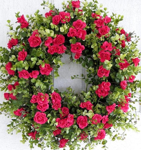 Flowers For Front Door: Spring Wreath Dazzling Pink Rose Wreath Front Door Wreath