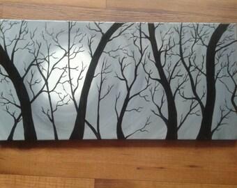 Moonlight Mystery, Surreal, 12x24, Acrylic