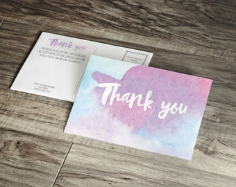 Printed Ombre Baby Shower Thank You Card in Watercolour , Watercolour Wedding Thank You Invite, Blue Ombre, Pink Ombre, Wedding card