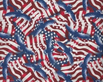 Stars and Stripes, Patriotic Fabric, Eagles, July 4th Fabric, 4th of July Fabric, by Fabric Arts, 65