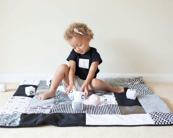 Large Monochrome Play Mat, Patchwork Quilt, Baby Blanket, Picnic Rug, Hand Screenprinted Organic Cotton, Sensory Fabrics, Personalised Gift