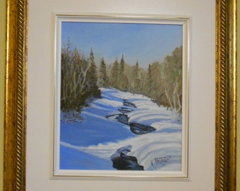 Oil - painting Creek under the snow