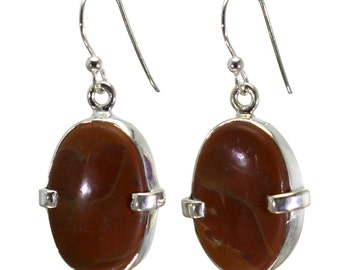 Mookaite Earrings, 925 Sterling Silver, Unique only 1 piece available! color red, weight 5.5g, #29031