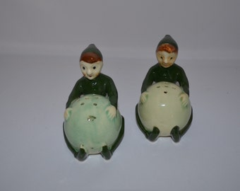 Pixie, Fairy, Elf Vintage Salt & Pepper Shakers - Japan - 1950's - Kitchen Decor, Cooking