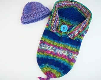 Baby Girl Photo Prop - Baby Rainbow Cocoon - Baby Girl Outfit - Hand Knit Baby Cocoon -Knit Baby Hat -Baby Photo Prop -Knit Baby Shower Gift