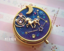Gorgeous Sparkly Starry Galaxy Universe Unicorn Trinket Box / Container