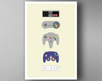 Nintendo Pads Inspired. Nintendo. Video Game Poster. Wall Art.