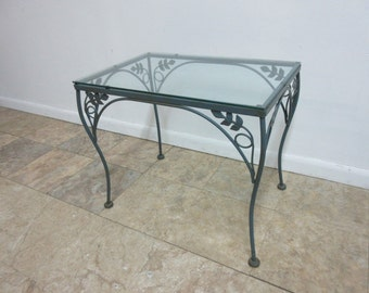 vintage wrought iron floral out door patio lamp end table mid century a - Wrought Iron Patio Chairs