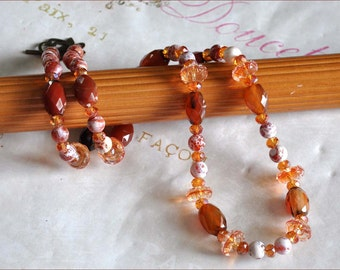 Orange Lampwork Necklace, Rust Faceted Beads, Bronze Lampwork Beads, 17 Inch Necklace, Lampwork Bead Necklace, White and Orange Beads