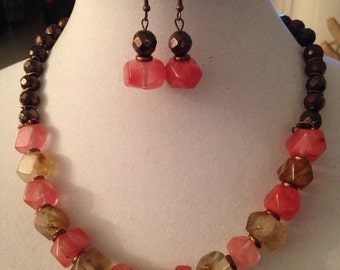 Fire cherry quartz necklace and earring set.