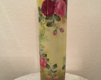 "Antique T&V Limoges France Handpainted Porcelain Vase 15.5"" Tall. Victorian Roses. Circa 1907-1919."