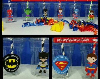 12 Superhero Themed Party Cups with Lids and Straws!