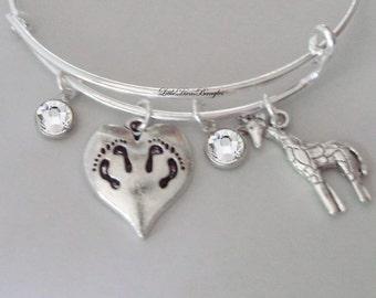TWINS Charm / Giraffe  Bangle W/ Two Birthstones / New Mother Bangle /  Baby Shower Gift / Adjustable Silver Bangle Under 20  USA TW1
