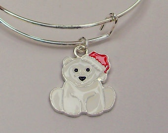 Polar Bear CHRISTMAS  Adjustable BANGLE -Personalize Your Expandable Bracelet - Gift For Her - Under 20 USA  W1