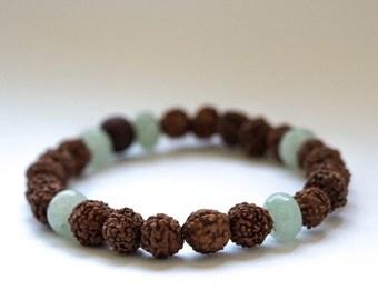 Mala Bracelet, Mala Beads, Yoga, Yoga Bracelet, Healing, Aventurine, Rudraksha Seeds, Rosewood, meditation, healing
