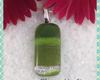 Dichroic Fused Glass Jewellery Necklace Pendant, Anniversary Valentine Birthday  - by Minerva Hot Glass