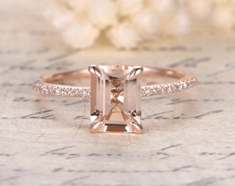 7x9mm Emerald Cut Morganite Ring,14K Rose Gold Morganite Engagement Ring,Emerald Cut Engagement Ring,Diamond Pave Ring,Claw Prongs,Solitaire