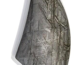 86.45 carat Gibeon Meteorite Cabochon with Strong Widmanstätten pattern