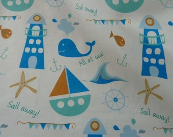 Nautical nursery fabric etsy for Nautical nursery fabric