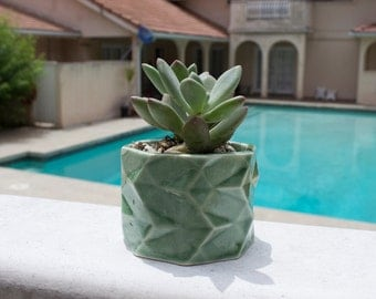 Green Stoneware Planter