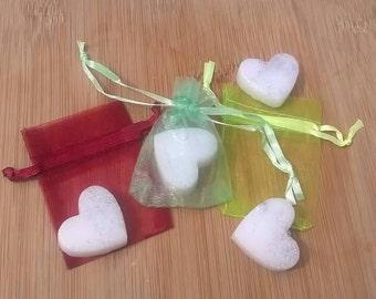 50 Mini heart shaped glitter infused soaps.