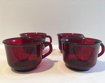 Set of 4 Vintage Arcoroc France red tea cups