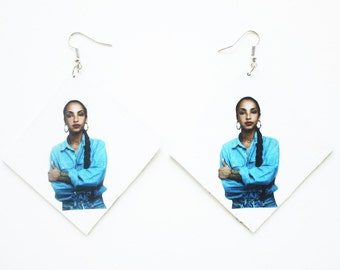 Sade Adu, Sade, quiet storm, smooth jazz, vintage inspired, retro styled black and white, earrings